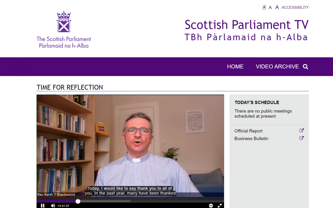 Time for Reflection – The Scottish Parliament – 9th February 2021